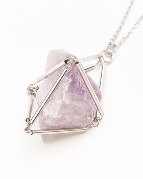 Brazilian Amethyst Cage Necklace - Founders & Followers - Casa del Mano - 3