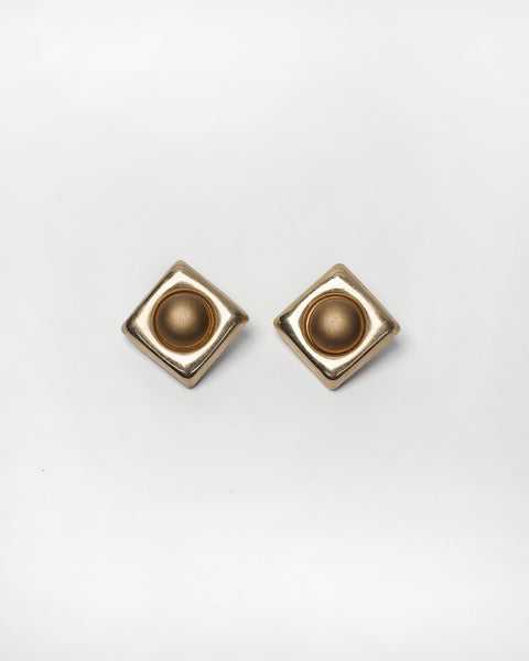 Gold Geometric clip-on earrings