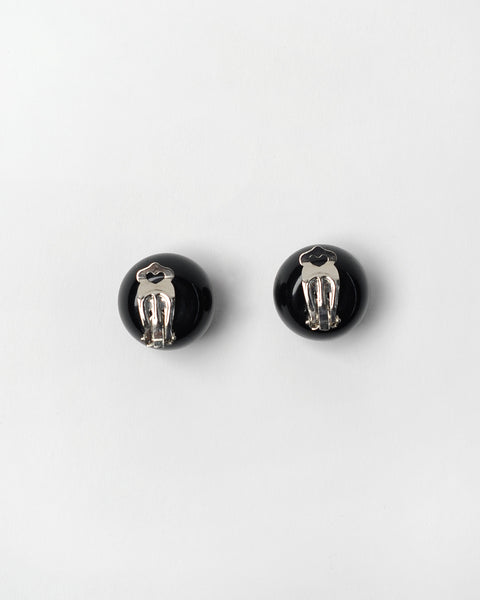 Black glossy balls clip-on earrings