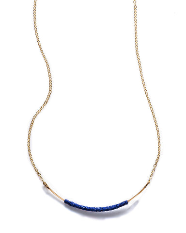 Curved Wand Necklace in blue Metallic Thread - Founders & Followers - By Boe