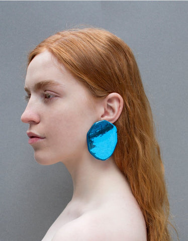 Reflection earrings in electric blue
