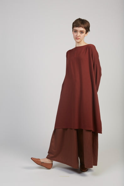 Simona sweatshirt tunic dress in maroon