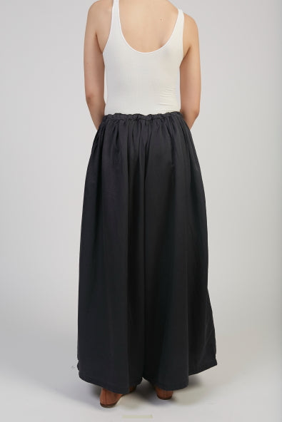 Silk cotton pants in black