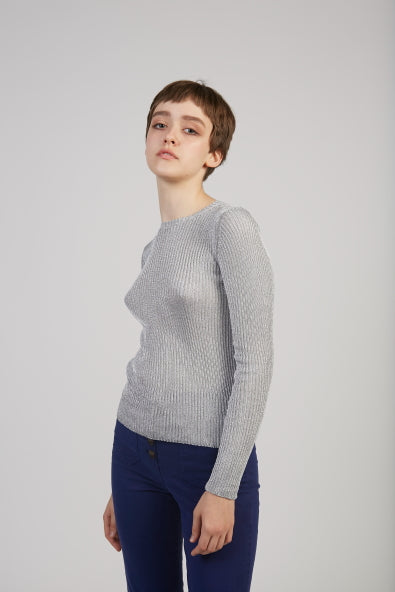 Teide lurex knit top in silver