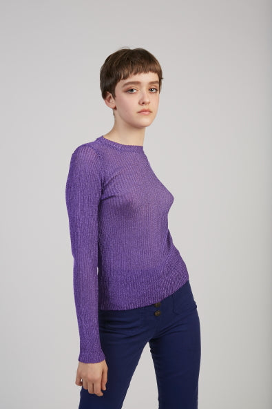 Teide lurex knit top in purple