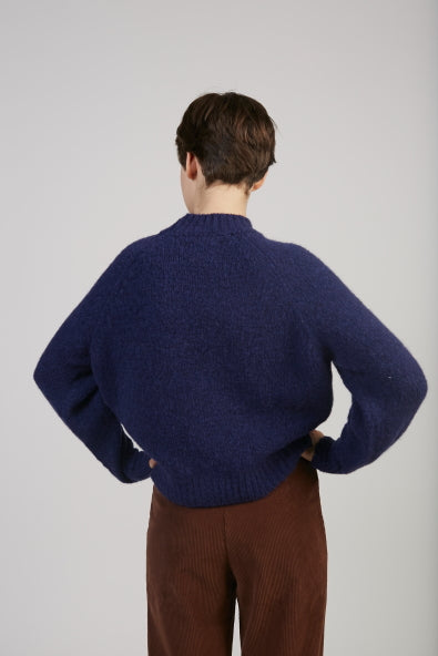 Piero face sweater in navy