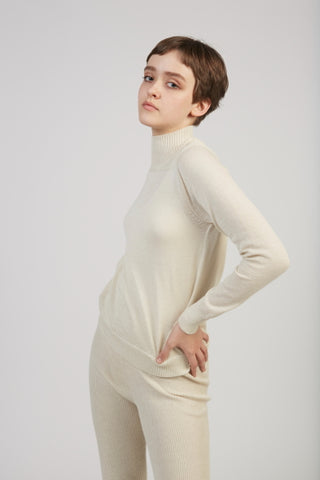 Layering rib alpaca mockneck in natural