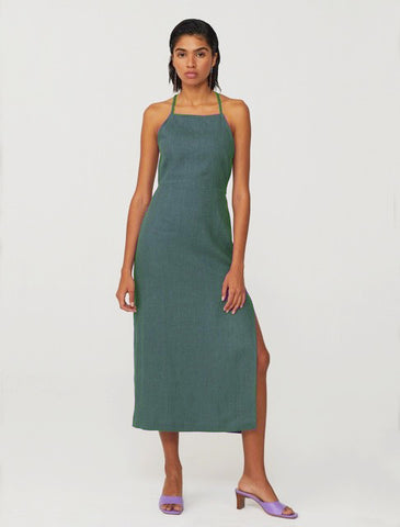 Carlota linen dress in green