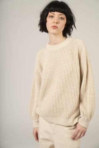 Waffle cotton sweater in salt