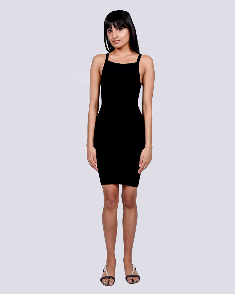 Knit camisole mini dress in black