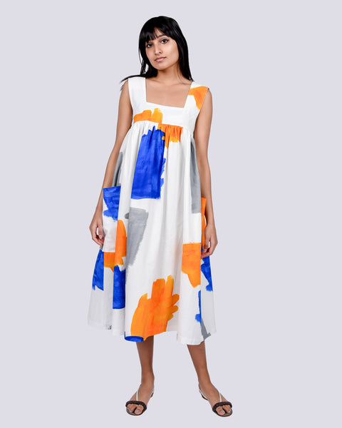 Cameron dress in brushstrokes