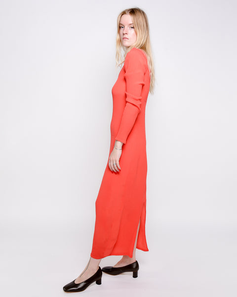Linde asymmetrical crinkle dress in red