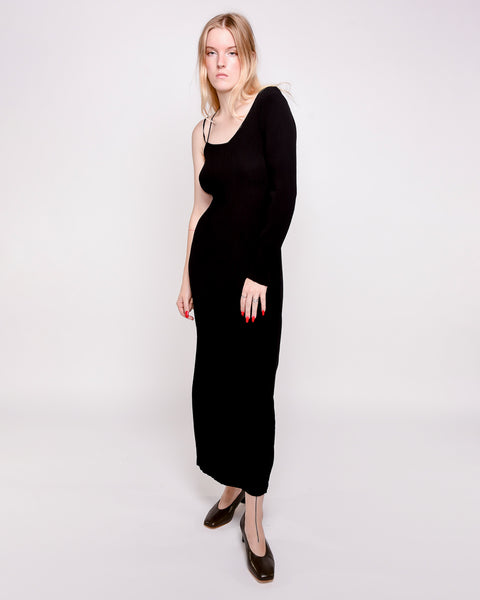 Linde asymmetrical crinkle dress in black