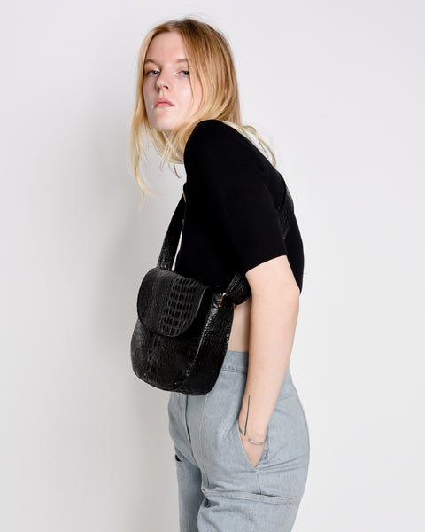 Gala bag in black embossed croc leather