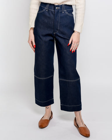 Seamed jeans in rigid indigo denim