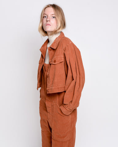Zoe cropped jacket in brown corduroy