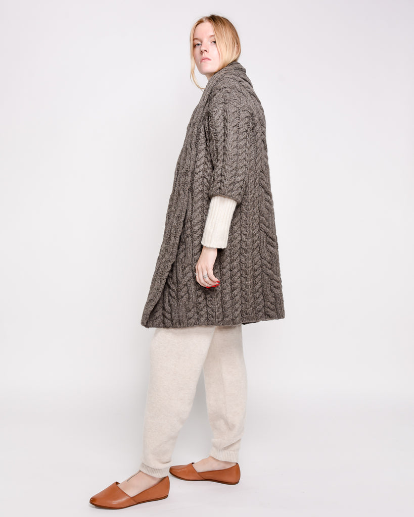 Elena cable knit coat in cedar