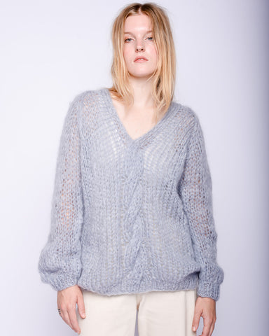 Oversized Vneck cable mohair sweater in sky