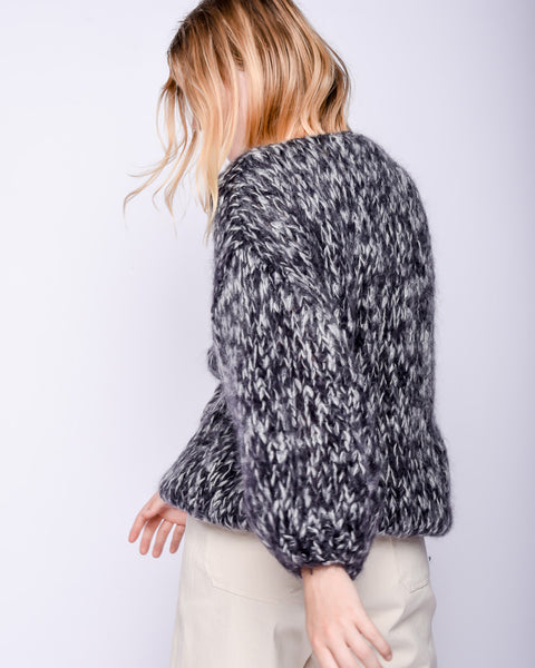 Mohair Big Cardigan in Black melange