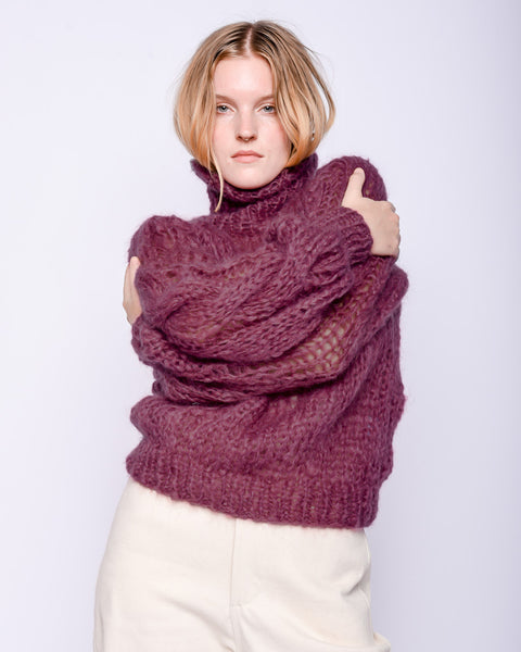 Mohair turtleneck cable sweater in mauve
