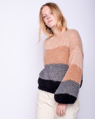 Mohair big Sweater in stripes camel & grey