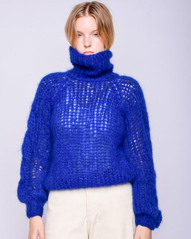 Mohair turtleneck cable sweater in royal blue