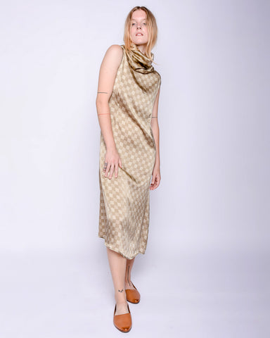 Ozum silk dress in checks