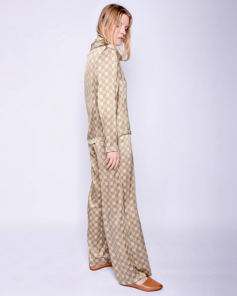 Ozum silk long sleeve shirt in checks