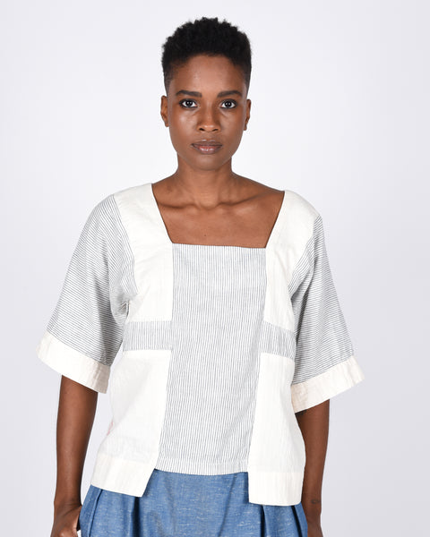 Block top in stripe gauze