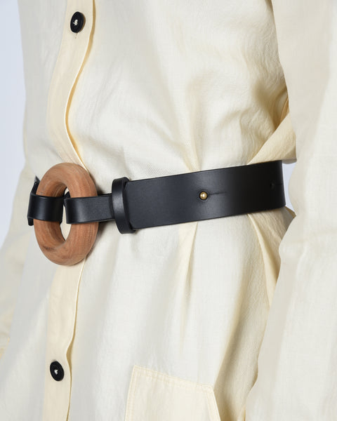 Circle belt in black & natural