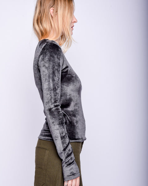 Omo long sleeve tee in charcoal velours