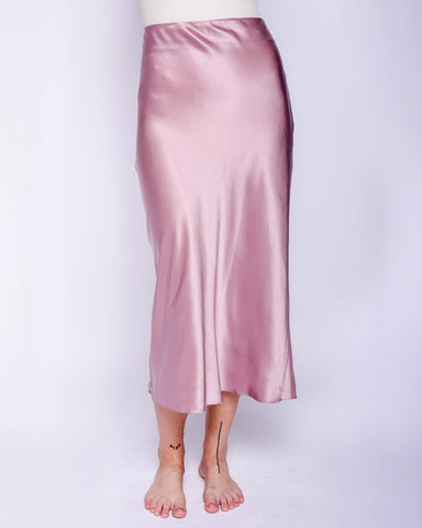 Tizita silk midi skirt in mauve