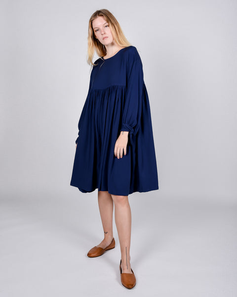 Kell satin dress in navy