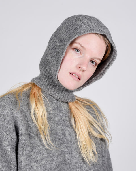 Angels alpaca balaclava in mid grey
