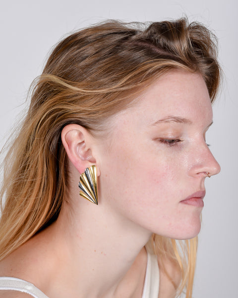 Clip-on bronze and gold deco earrings