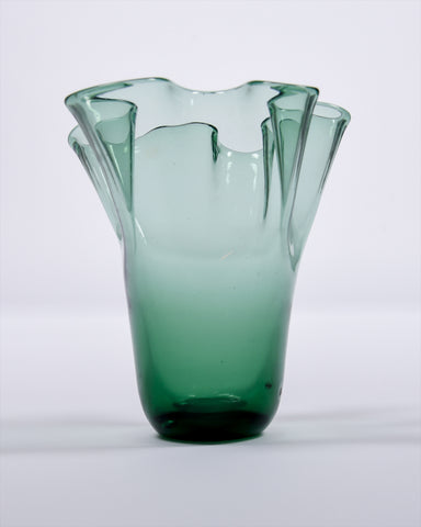 Green hand-blown glass wavy vase