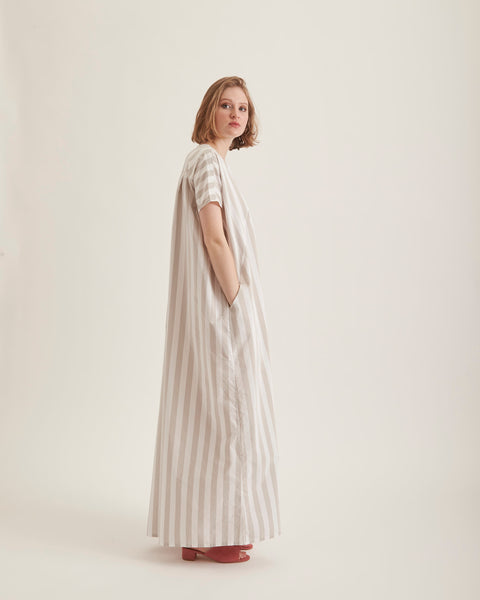 Racel maxi-dress in white stripe