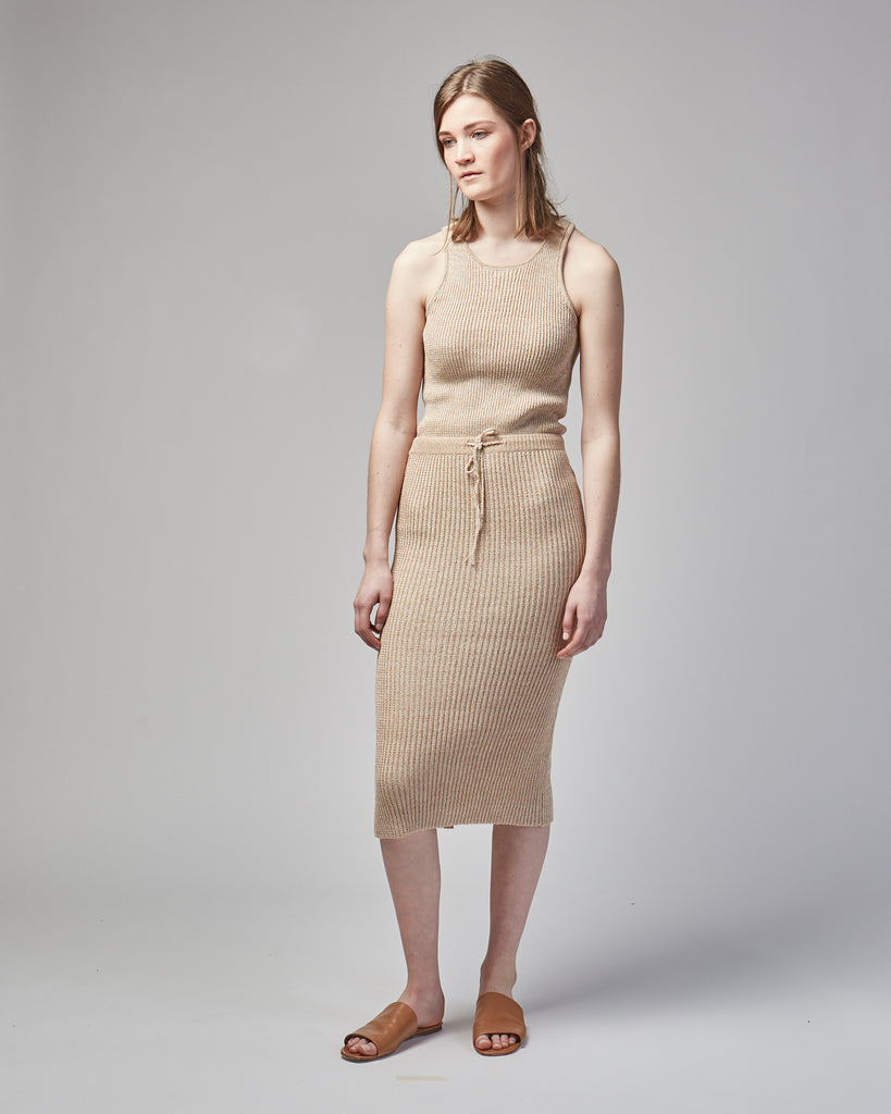 Rib skirt in Limestone