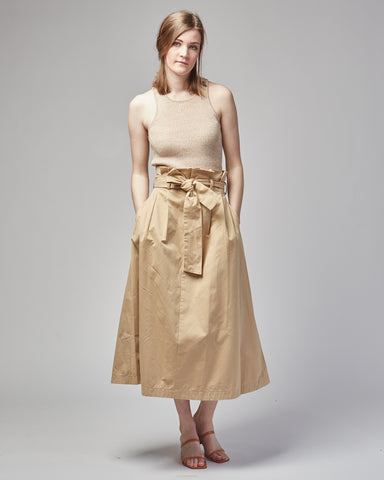 Dominic paper bag skirt in camel