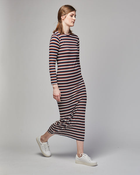 Soso dress in brown stripes