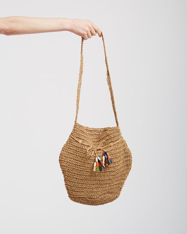 Vase bag in raffia