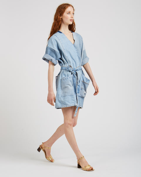 Denim patchwork jumpsuit