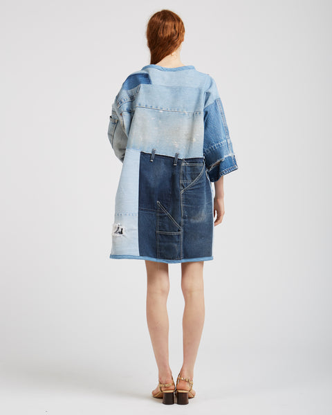 Sarah denim patchwork dress