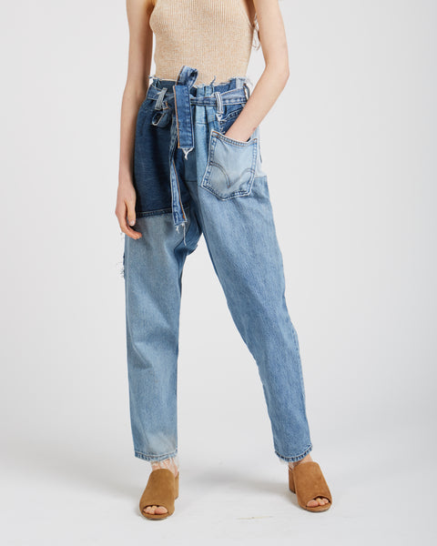 Liz denim patchwork pants