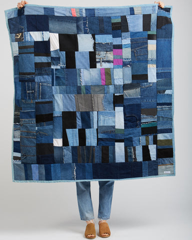 Recycled denim patchwork throw quilt