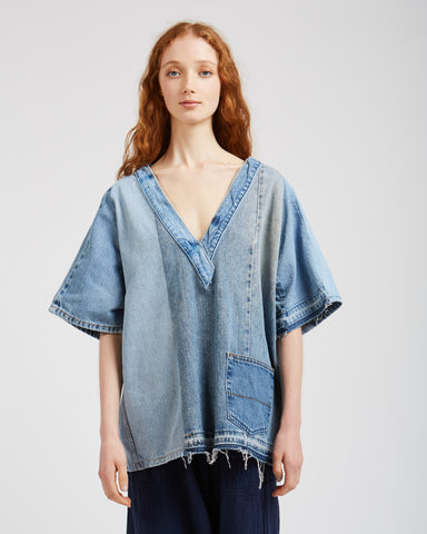 Ada denim patchwork top