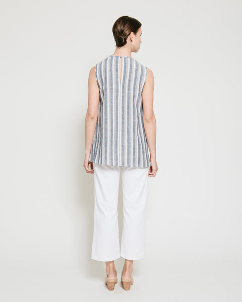 Safil Fold Top in Grey Stripe - Founders & Followers - Gary Bigeni - 3