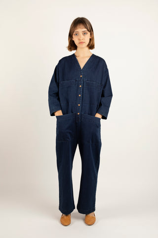 Tuck coverall in denim