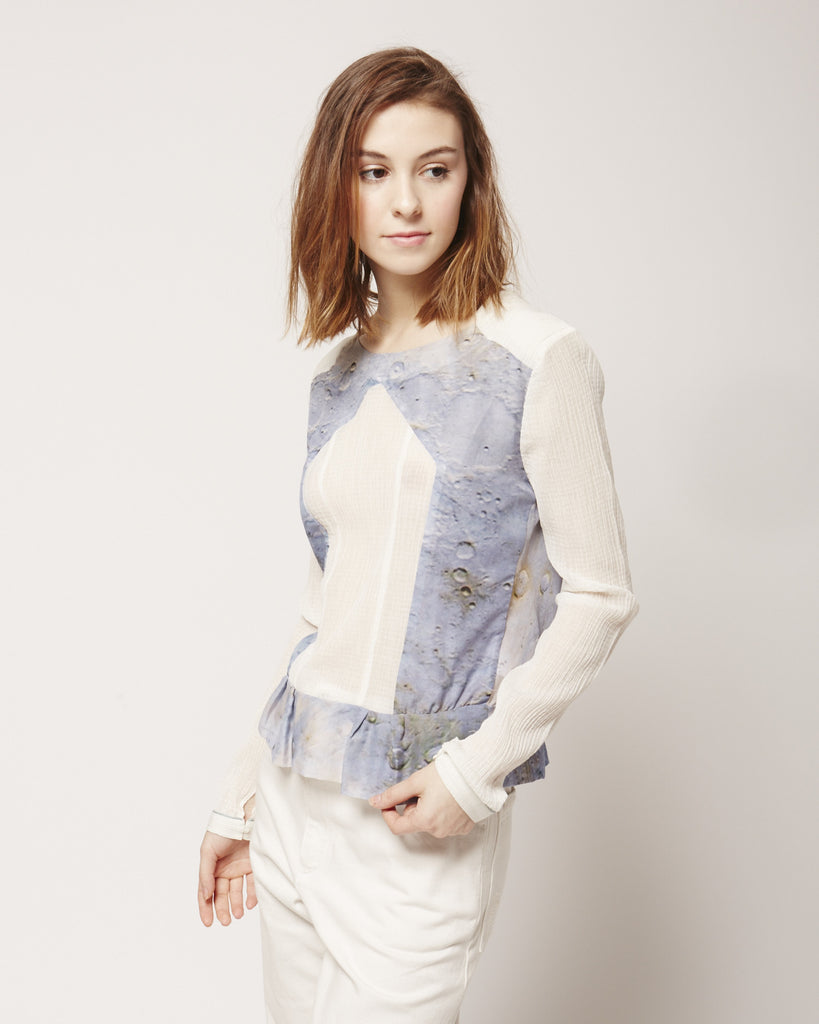 Epaulette Blouse in Blue Moon