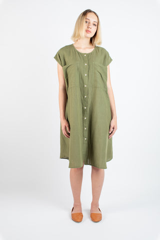 Ida dress in Moss stripe
